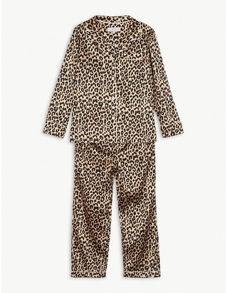 Little Yolke Leopard print stretch-silk pyjama set 7-12 years
