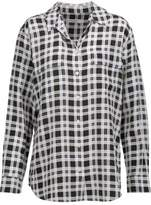 Equipment Femme Signature Plaid Washed-Silk Shirt