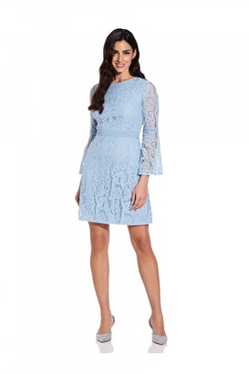 Adrianna Papell Bell Sleeve Lace A-Line Dress In Powder Blue