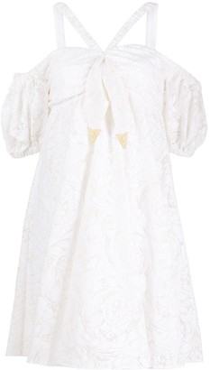 Versace Embroidered Off-The-Shoulder Dress