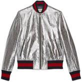 Gucci Men's crackle leather bomber jacket