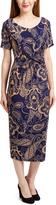Glam Navy & Tan Ruched Midi Dress