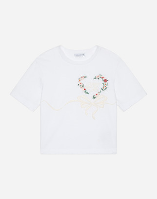Dolce & Gabbana Jersey T-Shirt With Heart Embroidery