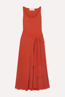 Antonio Berardi Asymmetric Draped Crepe Wrap Dress - Orange