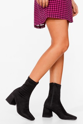 Nasty Gal Womens High Ankles Away Faux Suede Heeled Boots - Black - 3