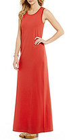 Pendleton Round Neck Sleeveless Side Slit Hem Solid Knit Jersey Maxi Dress