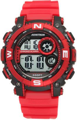 Armitron Men Digital Chronograph Red Strap Watch 54mm 40-8284RDBK