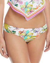 Trina Turk Key West Botanical-Print Shirred-Side Hipster Swim Bikini Bottoms