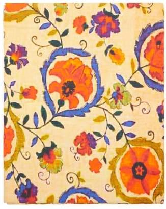 Les Ottomans - Floral Print 250cm X 150cm Cotton Twill Tablecloth - Yellow Print