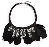 Topshop Women's Feather & Crystal Necklace