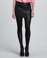 Alice + Olivia Elana Quilted Leather Miniskirt