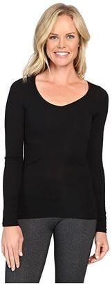 Icebreaker Siren Merino Long Sleeve Sweetheart (Black) Women's Clothing