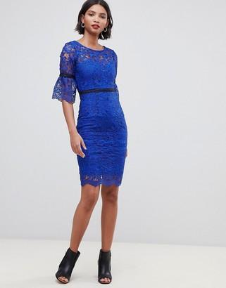 Paper Dolls crochet flute sleeve dress-Blue