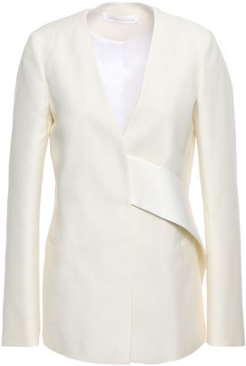 Victoria Beckham Belted Wool And Silk-blend Shantung Jacket