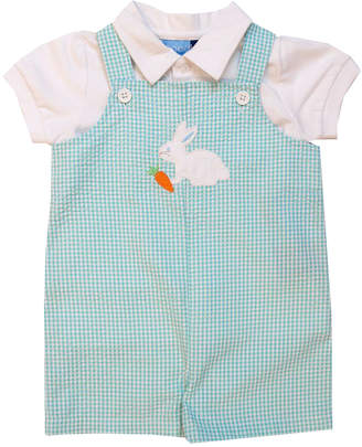 Good Lad Boys' Short Overalls GREEN - Turquoise Bunny Seersucker Shortalls & White Top - Infant
