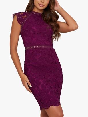 Chi Chi London Eleya Crochet Design Bodycon Dress, Berry