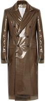 Calvin Klein Slim-Fit PVC and Checked Virgin Wool Coat