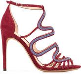 Alexandre Birman waved motif sandals - women - Cotton/Leather/Suede - 37.5