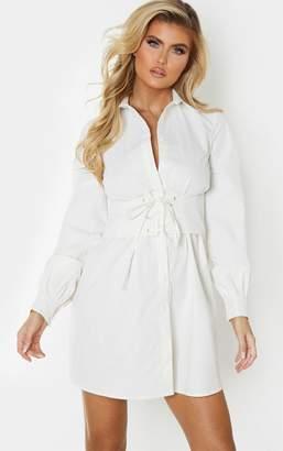 PrettyLittleThing Tall Cream Corset Detail Shirt Dress