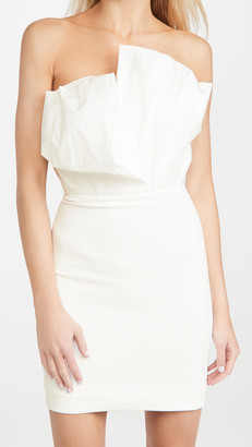 Cushnie Strapless Mini Dress with Folded Taffeta
