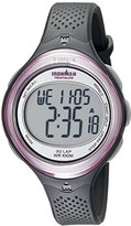 Timex Women's T5K600 Ironman Clear View 30-Lap Dark Gray/Pink Resin Strap Watch