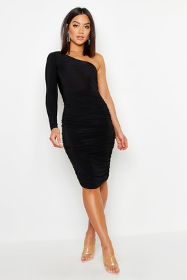 boohoo One Shoulder Double Layer Slinky Midi Dress