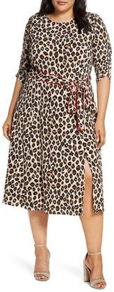 Brinker & Eliza Leopard Print Piped Sash Midi Dress
