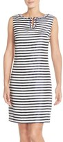 Ellen Tracy Striped Shantung Sheath Dress with Embellished Neckline (Regular & Petite)