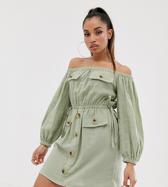 Asos DESIGN Petite off shoulder utility mini dress with pocket detail