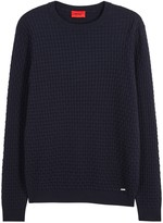 Hugo Subon Navy Textured Cotton Jumper