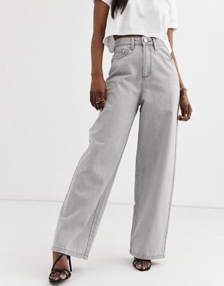ASOS DESIGN High rise 'relaxed' dad jeans in concrete grey wash