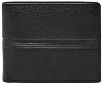 Fossil Roger Large Coin Pocket Bifold Wallets Black