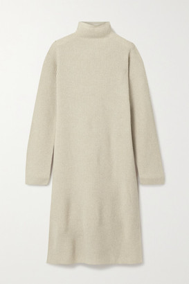 The Row Moa Ribbed Wool And Cashmere-blend Turtleneck Midi Dress - Beige