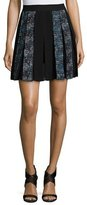Diane von Furstenberg Maison Box-Pleated Miniskirt, Peacock/Black Multi