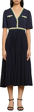 Sandro Cruise Pleated Midi Dress