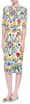 Dolce & Gabbana Half-Sleeve Maiolica-Print Sheath Dress, White/Blue/Yellow