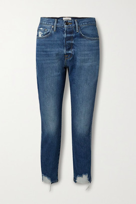 Frame Le Original Cropped Distressed High-rise Straight-leg Jeans - Mid denim
