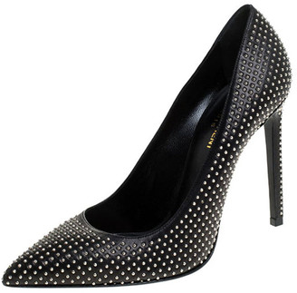 Saint Laurent Paris Black Leather Studded Pointed Toe Pumps Size 39