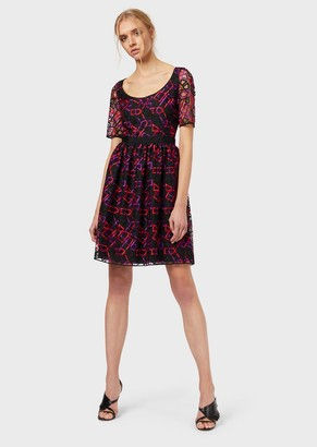 Emporio Armani Tulle Dress With Geometric Embroidery