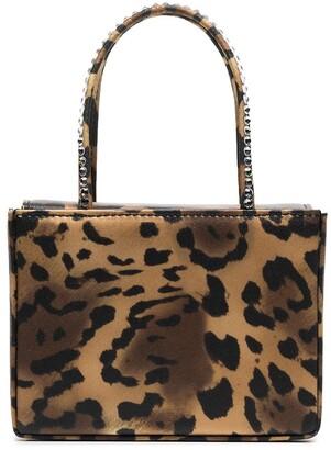 Amina Muaddi Leopard Print Satin Mini Bag