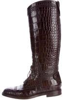 Gucci Crocodile Knee-High Boots