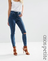 Asos RIDLEY Skinny Jeans in Mottled Dark Wash With Ripped Knees