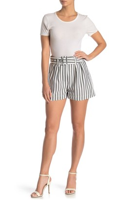 NSR Stripe Print Belted High Waisted Shorts