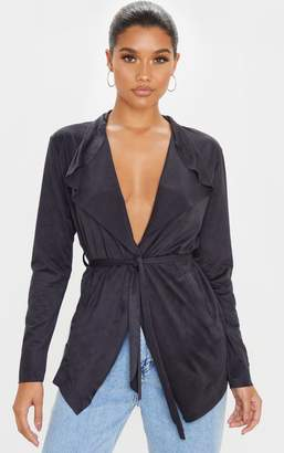 PrettyLittleThing Black Faux Suede Waterfall Jacket