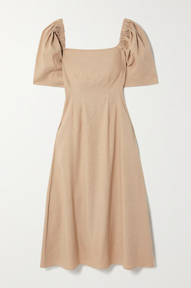 ANNA QUAN Aura Linen-blend Midi Dress - Sand