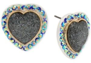 Betsey Johnson Gold-Tone Pave & Glitter Stone Heart Stud Earrings