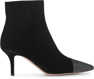 Gianvito Rossi Crystal velvet ankle boots