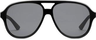 Gucci Aviator striped arms sunglasses