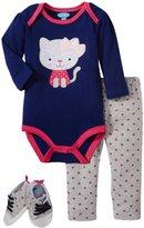 Bon Bebe Kitty Cat Bodysuit & Shoe Set (Baby)-Multicolor-0-3 Months
