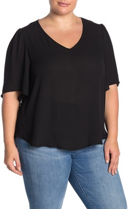 Lush Dolman Sleeve V-Neck Blouse (Plus Size)